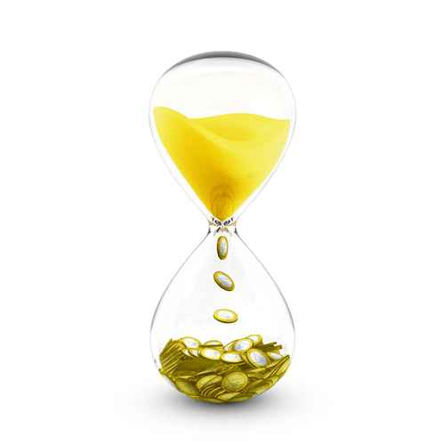 Time is money concept. Hourglass that transforms time to coins.